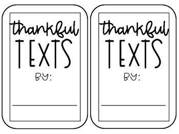 Thankful Texts- A Writing Activity