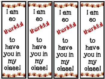 Thankful Thanksgiving Bookmark