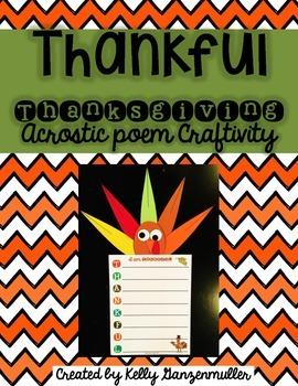 Thankful Thanksgiving Turkey Poem Craftivity