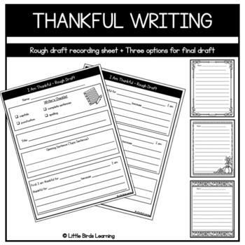What I'm Thankful For! - Thankful Thanksgiving Writing