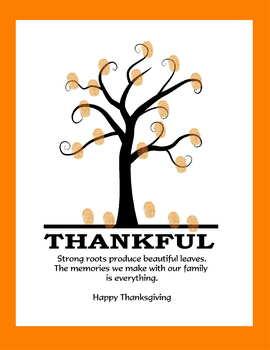 Thankful Thanksgiving tree fingerprint art handprint gifts for parents