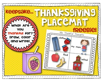 Thankful Thoughts {Thanksgiving Placemat} Freebie!