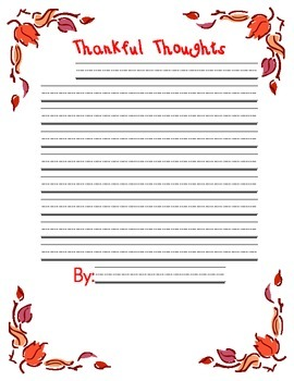Thankful Thoughts Thanksgiving Writing