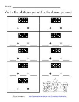 Christmas Domino Addition No-Prep Printables (Sums to 10) FREE
