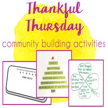 Thankful Thursday - Community & Team Building Activities