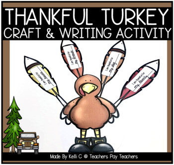 Thankful Turkey Art Project and Writing Activity (Thanksgiving Craft)