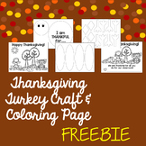 Thankful Turkey Craft and Thanksgiving Coloring