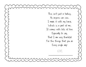 Thankful Turkey Handprint Poem