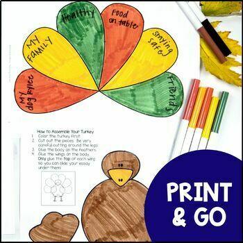 Thankful Turkeys: A Thanksgiving Craftivity Writing Project
