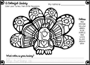 Thankful Turkeys Thanksgiving NO PREP Printables for PreK and Kindergarten