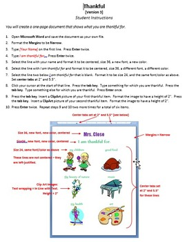 Thankful Version 3 Technology Lesson Plan & Materials