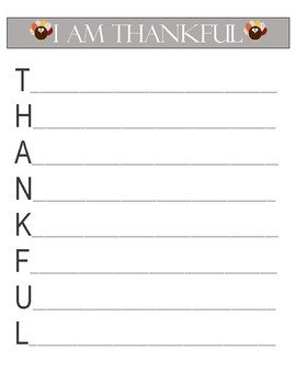 Thankful Writing Acrostic Template