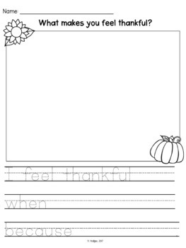 Thankful Writing Prompts with Organizers