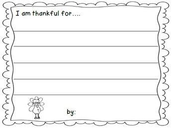 Thankful Writing Sheet