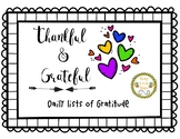 Thankful and Grateful - Lists of Gratitude