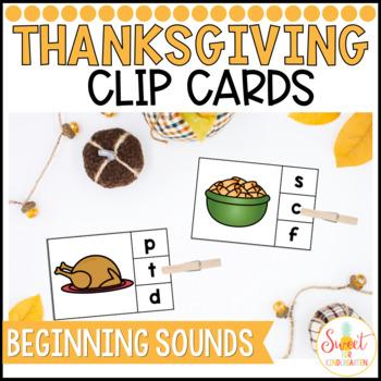 Thanksgiving Beginning Sounds Clip Cards