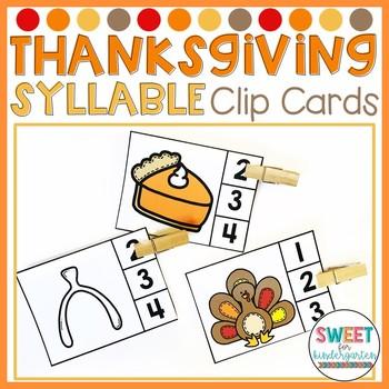Thanksgiving Syllables Clip Cards