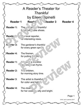 Thankful by Eileen Spinelli - Reader's Theater Companion