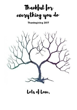 Thankful fingerprint Tree Thanksgiving Card w/ printable