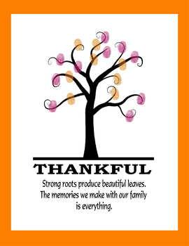 Thankful fingerprint tree family kids parent gift holiday art