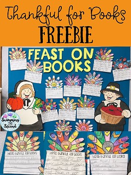 Thankful for Books freebie by Swimming into Second | TpT