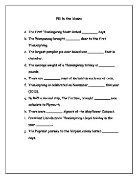 Thanksgiving Math Facts