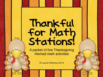 Thankful for Math Stations: Five Thanksgiving themed math activities