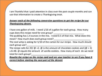 Thankful for Math! Using Math to make a great Thanksgiving Dessert