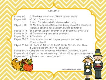 Thankful for Speech and Language Activity Packs!