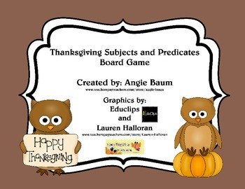 Thankful for Subjects and Predicates Board Game