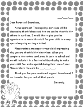 Thankful for You! Parent and Teacher Letters Display