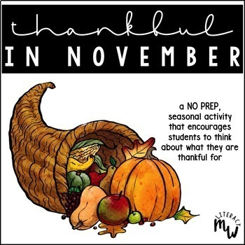 Free Download: Thankful in November Activity