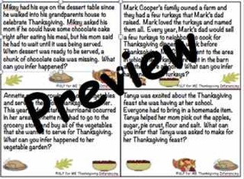 Thankful to Learn About and Practice Inferencing Skills - Thanksgiving Theme