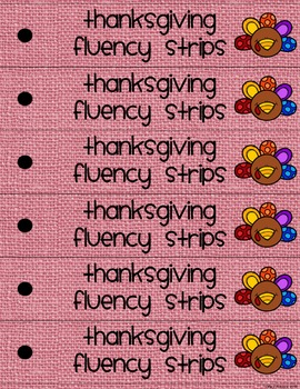Thanksgiving Fluency Strips