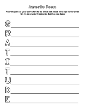 Thankfulness & Gratitude Writing Activity ~ Perfect for Thanksgiving!