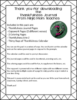 Thankfulness Journal- No Prep