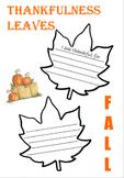 Thankfulness Leaves- November/Thanksgiving Writing Activity