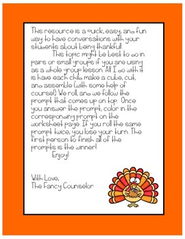 Thankfulness Roll and Respond Game