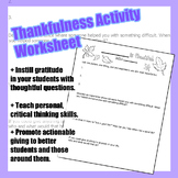 Thankfulness Worksheet Activity