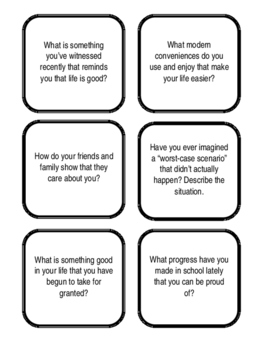 Thankfulness and Gratitude Discussion Cards