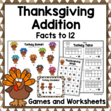 Thanksgiving Addition Games and Worksheets for Addition to 12