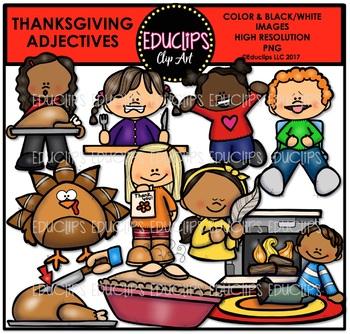 Thanksgiving Adjectives Clip Art Bundle {Educlips Clipart}