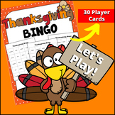 Thankgiving BINGO (Up to 30 players!)