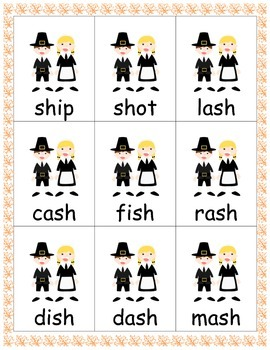 Thankgiving Games: blends, digraphs and -am, -an, -all sounds