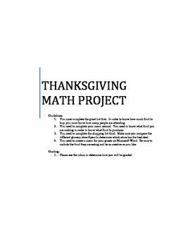 Thankgiving Math Project - Decimals, Percentages, Estimation