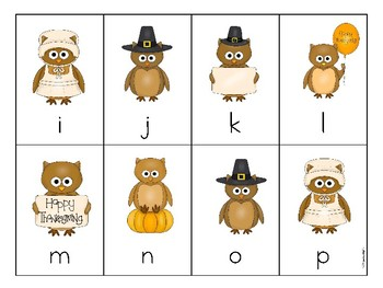 Thankgiving Themed Letter or  Sound Fluency Game CCSS Aligned