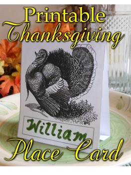 Thanksgiving Turkey Place Card Printable B&W and Color