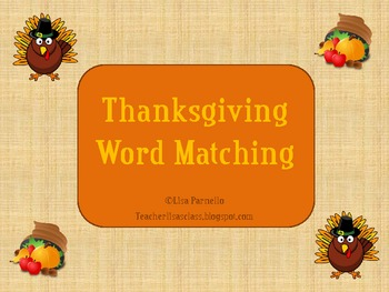 Thankgiving Word Matching FREEBIE