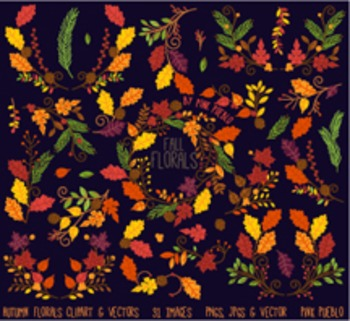 Thankgiving and Autumn Flower Clipart Clip Art - Commercial and Personal Use