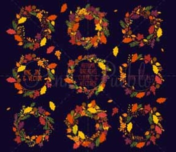 Thankgiving and Autumn Wreath Clipart Clip Art - Commercial and Personal Use